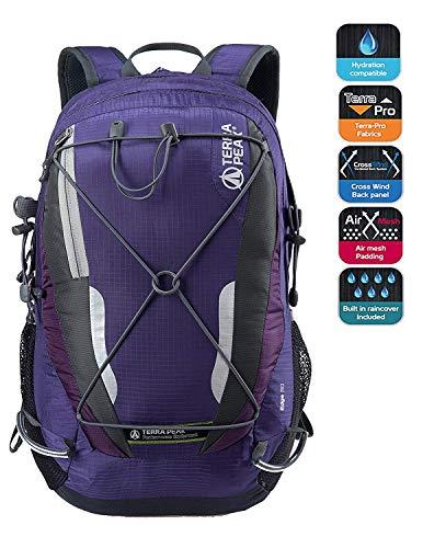 TERRA PEAK Cycling Hiking Backpack Water Resistant Travel Backpack Lightweight Small Daypack 30L Purple