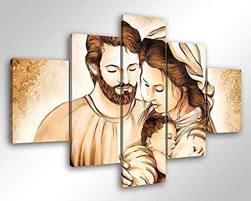 bnkrtopsu 5 Cuadro en Lienzo 5 Fotos Juntas en una Sala de Estar Dormitorio Creativo murales Decorativos y Carteles- Sagrada Familia