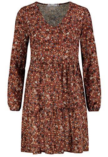 Sublevel Damen Kleid mit Blumen-Muster Langarm Herbst Frühling Brown M/L
