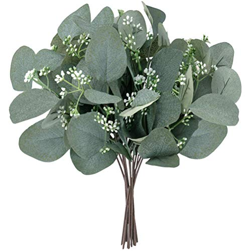 Blacgic Artificial Eucalyptus Garland, 12 Pieces Artificial Seeds Eucalyptus Leaves, Eucalyptus Leaves Decoration, for Wedding, Background, Arch, Wall Decoration