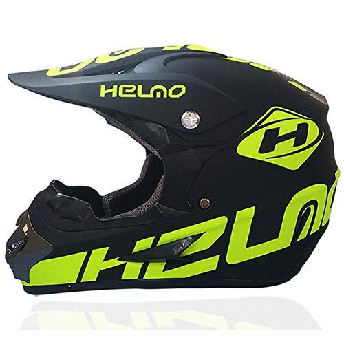 Adulto de la Cara Llena del Casco de MTB con los Guantes Gafas,Verde/Rockstar,Adulto Motocicleta de Motocross Casco Conjunto de Motos Off Road Casco Protector Equipo de Protección,M57~58CM