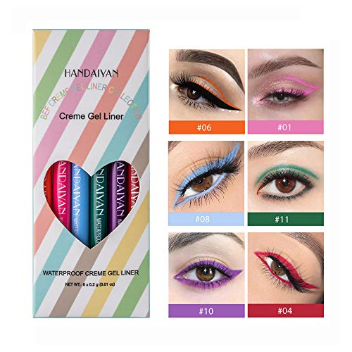 GL-Turelifes 6 couleurs ensemble d'eye-liner liquide mat, stylo eye-liner coloré imperméable à l'eau crayon crayon mat (C)
