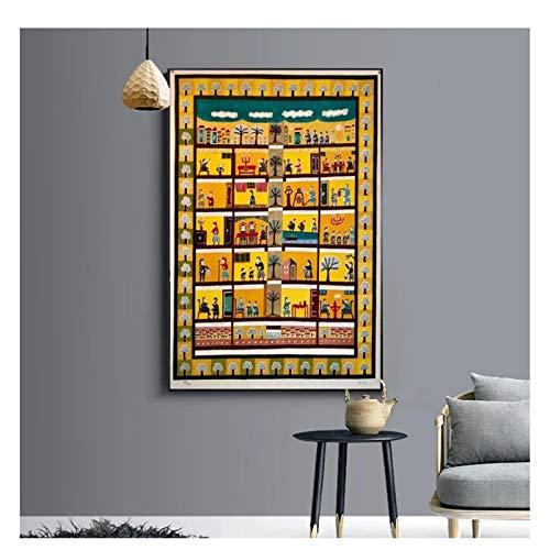 Feitao Arte Popular israelí Hebreo ingenuo Judaica Arte Lienzo póster Pintura sobre Pintura decoración del hogar-20X30 Pulgadas sin Marco
