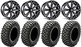 Bundle - 9 Items: MSA Black Kore 14' UTV Wheels 30' Crawler XR Tires [4x137 Bolt Pattern 12mmx1.5 Lug Kit]