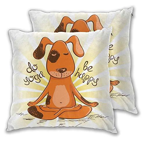 SAIAOS Juego de 2 Funda de Cojín 50x50cm Do Yoga Be Happy Cartoon Red Dog Sentado en posición de Loto de Yoga Fun Fundas de Almohada para Cojines Decorativos para Sofá Cama Coche Hogar