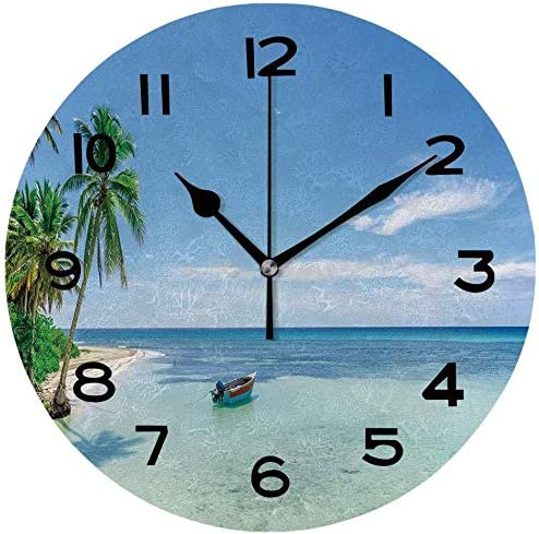 Kiss Cervical Wood Clock Under blast sales Ranking TOP18 Round Boat Beach Se On A Tropical