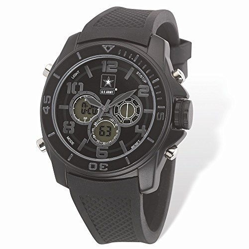 Jewelry Brothers Gifts Best Birthday Gift US Army Wrist Armor C24 Watch Blk Stealth Dial & Blk Rubber Strap