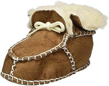 Playshoes Zapatillas de Lana para Recién Nacidos, Zapatos para Gatear Unisex niños, Marrón (Hellbraun 108), 20/21 EU