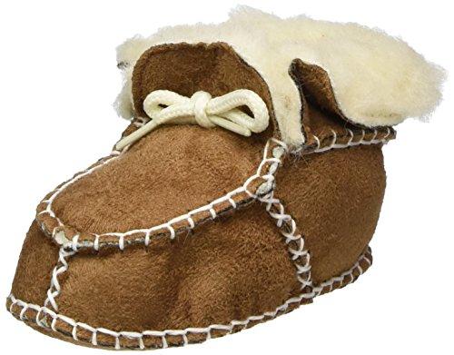 Playshoes Baby-Hausschuhe zum Binden Krabbelschuhe, Braun, 18/19 EU