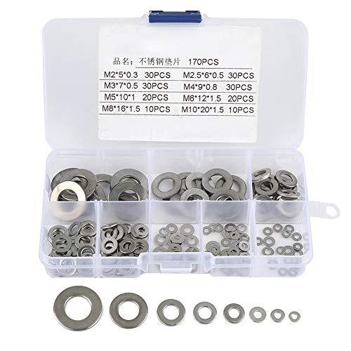 170pcs 8 talla – Caja surtida de Arandela plana de acero inoxidable Kit...