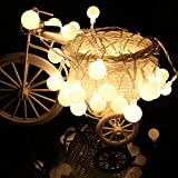 Moent 2M 10Led Light Outside Garden Lights String Fairy LED Battery Powered, Beige Frosted Frosted Ball Light String Always on + Flashing Yellow, Blue, White, Color, Purple, Pink, Red