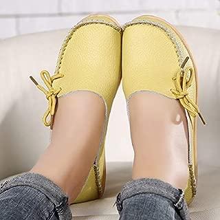 Exquisite Women Flats Summer Women Slipony Genuine Leather Shoes Slip On Ballet Bowtie Moccasins Ballet Flats Woman Shoes 24 Colors (Color : Orange, Shoe Size : 8.5)