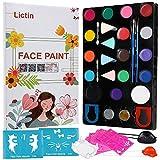 Lictin Kinderschminke Set Schminkpalette Face Paint 23 Farben Schminkset mit 5 Schablonen für Kinder Partys Weihnachten Fasching Gesichtsfarben (Mehrfarben)
