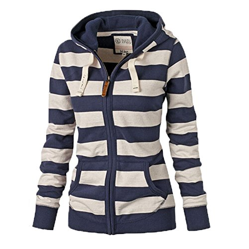 LOOLY Women Plain Zipper Spring Hoodie Striped Hooded Jacket L