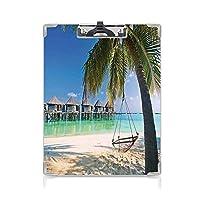 クリップボード クリップファイル 熱帯 学校・ご家庭・オフィスなど場所 (2パック)パラダイスカリブ海のゴールデンヘブンビーチのヤシの葉の下のハンモック