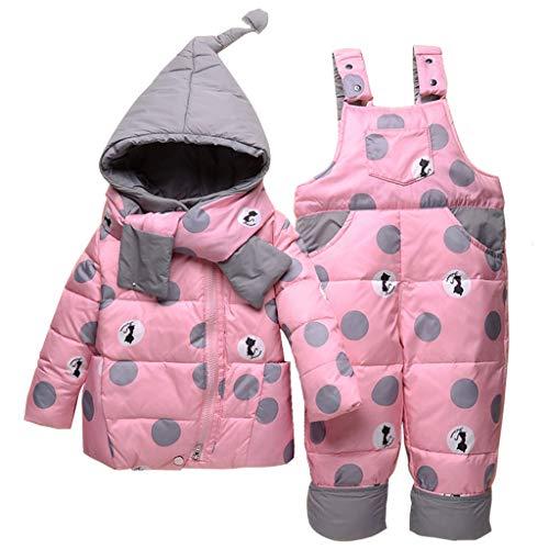 Bebé Invierno 3 Piezas Trajes de Nieve Capucha Plumón Chaqueta + Pantalones y Monos para La Nieve + Bufanda Niños Niñas Snowsuit Ropa Conjuntos Rosa 3-4 Años