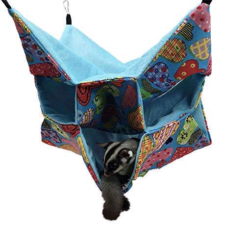 Oncpcare - Hamaca para mascotas pequeña, con diseño de cubo de azúcar, cama triple, cama para rata, cobaya, cerdo, accesorios de cama, acogedora, túnel, cueva de animales pequeños cama