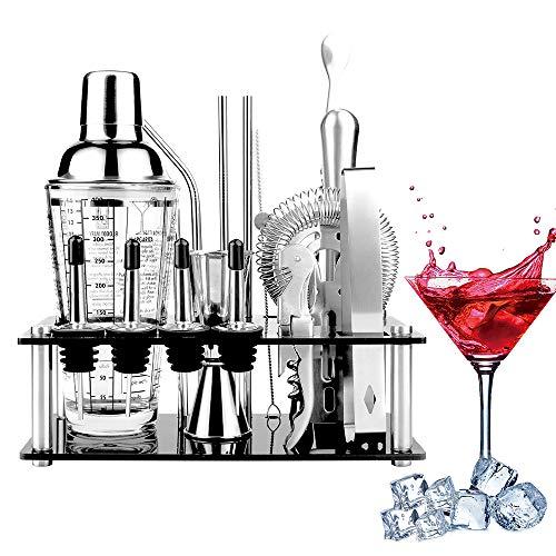Viesap Cocktail Shaker Set, Edelstahl 17Pcs Cocktail Bar Kit, Bar Zubehör Cocktail Mixer Mit 400ML Glas Cocktail Shaker Barstößel, Messbecher, Barlöffel, Korkenzieher, Sieb, Zange, Kristallständer.