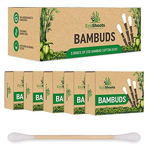 EcoShoots 1000 coton-tige en bambou   Paquet économique de 5x200 Bambuds organiques   Emballage sans plastique recyclé   Écouteurs en coton biologique certifié GOTS   Biodégradable et compostable