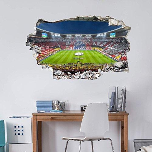 Wall-Art Fußball Wandtatoo Kinderzimmer Aufkleber 3D Wandtattoo FCB Stadion Immer weiter - 60x36 cm - Art. Nr. FCB10232