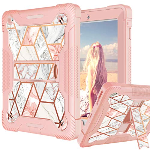 Fingic iPad 2 3 4 Case 9.7 inch Shiny Marble iPad 2/3/4 Case Built-in Kickstand 2 in 1 Hard PC & Soft Silicone Hybrid Shockproof Protective Cover for iPad 2 3 4 Case for Girls, Rose Gold