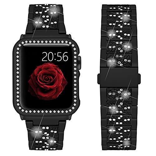 Wutwuk Correa Apple Watch con Diamantes Correa Apple Watch de Acero Inoxidable Compatible con Apple Watch 44mm Series SE 6/5/4/3/2/1 con Estuche Protector Pulsera para Hombres y Mujeres Negra