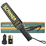 Handheld Metal Detector Wand,Super Scanner,Battery Powered,Security Wand Safety Bar,Portable Adjustable Sound & Vibration Alerts, Detects Weapons Screw (Stronger Sensitivity, with Light, Black)