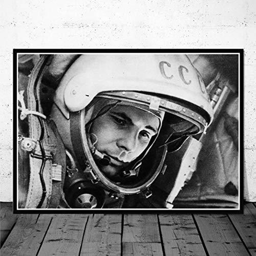 PHhomedecor Leinwanddrucke,Wandbilder,Klassischer Film Space Heroes Yuri Gagarin Vintage Poster und Drucke Gemälde Kunst Leinwand Wandbilder für Wohnzimmer Home Decor,50X70Cm Ohne Rahmen Bild,PH-412