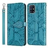 Aswant Samsung A71 Schutzhülle Geprägte Baum PU Leder