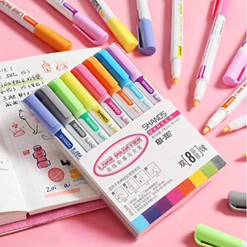 Blue-Yan 2020 8-farbige Doppellinien-Konturenstifte, Studenten mit Farbmarkierungsstiften, DIY-Bastel-Flash-Gelstift-Set, für Studentenschreiben, Bastelzeichnung, Graffiti und DIY-Bastel-Flashstift
