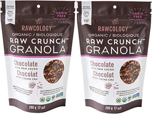 Rawcology - Pack de 2 Granolas Chocolat   100% organique   Keto   Sans sucres ajoutés, sans gluten, Paleo   200g
