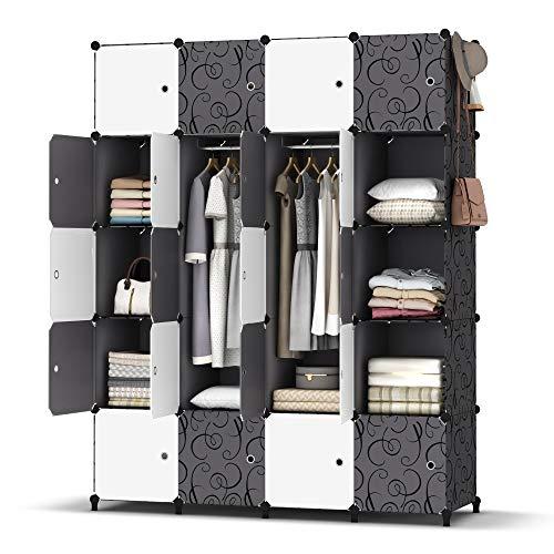 HOMIDEC Kleiderschrank, Tragbarer Regalsystem, 20 Würfel Schrank aus Kunststoff mit 2 Kleiderstange, Schlafzimmerschrank kleiderschrank Weiss für Schlafzimmer, 180 x 142 x 46cm