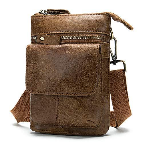 Bolsa de Hombro para Celular Hombre, Bolso Cinturon Hombre Cuero, 7.0