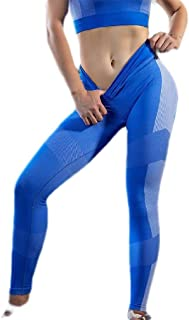 Macondoo Womens High Rise Stretch Yoga Contrast Color Butt Lift Ankle Legging