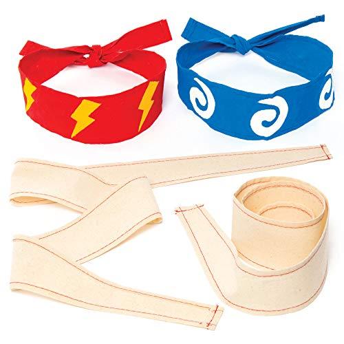 """Baker Ross """"Ninja"""" Stoff-Kopfbänder für Kinder zum Gestalten und Tragen beim Kostümfest – Kreatives Bastelset für Kinder zum Verkleiden (5 Stück)"""