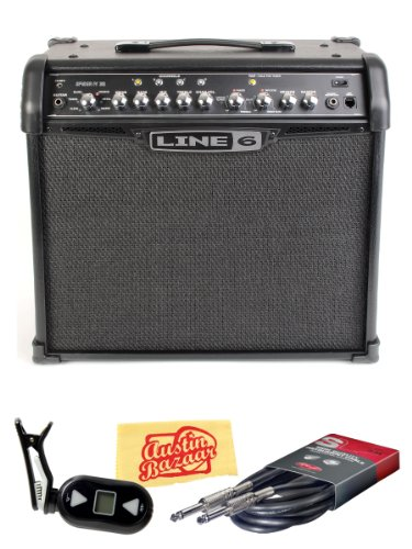 Line 6 Spider IV 30 30-Watt 1x12-Inch Guitar Combo Amp Bundle with Tuner, Instrument Cable, and Polishing Cloth