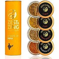 Caja de regalo Especias de India (Curry, Tandoori, Cumino, Garam Masala) - Cajas de regalo ZEST & ZING. Navidad, estreno de una casa, cumpleaños, regalos de boda para los sibaritas.