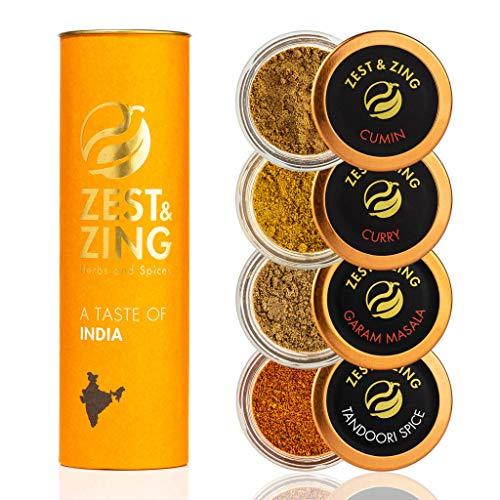 Caja de regalo Especias de India (Curry, Tandoori, Cumino, Garam Masala) -...