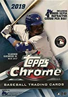 2019 Topps Chrome Baseball Series Unopened Blaster Box of Packs with 4 Blaster Exclusive Sepia Refractor Cards and a Chance for Autographed Rookie Cards of Pete Alonso and Vladimir Guerrero Plus