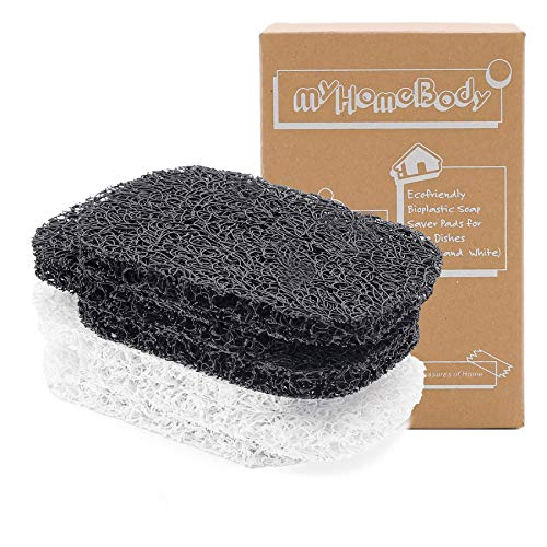 myHomeBody Soap Saver Pads | Soap Lift for Soap Dish | Multi-Directional Weave, Efficient Draining Soap Bar Holder for Shower | 6 Piece Set – 3 Black, 3 White