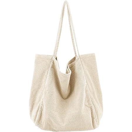 Ulisty Damen Groß Cord Tragetasche Retro Schultertasche Beiläufig Einkaufstasche Mode Handtasche Beige