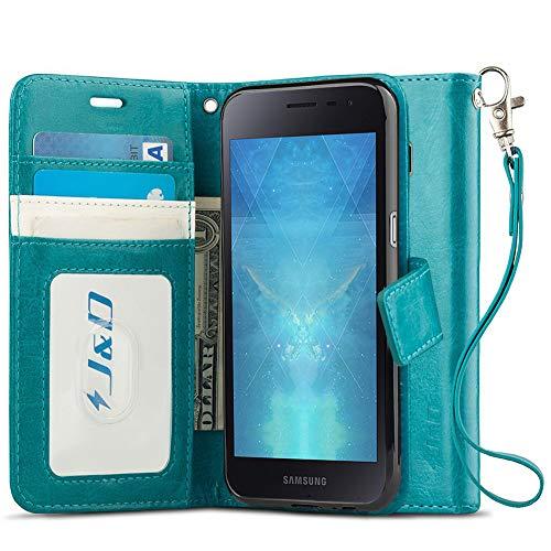 JundD Kompatibel für Galaxy J2 Core Leder Hülle, [Handytasche mit Standfuß] [Slim Fit] Robust Stoßfest PU Leder Flip Handyhülle Tasche Hülle für Samsung Galaxy J2 Core Hülle - Türkis