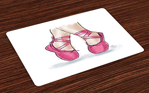 ABAKUHAUS Ballet Placemat Set van 4, Hand Getrokken Schoenen van de ballerina, Wasbare Stoffen Placemat voor Eettafel, Wit Roze Pale Peach