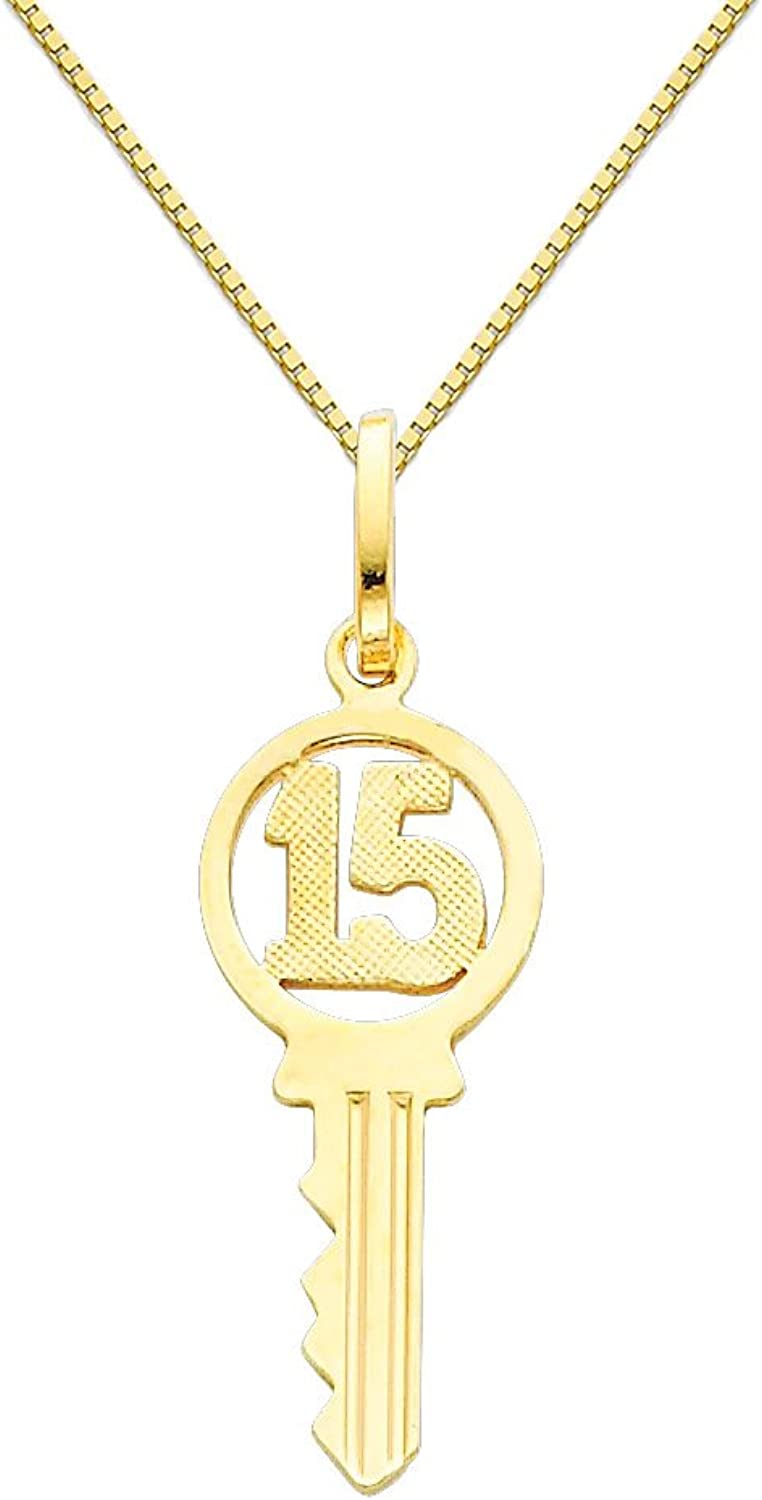 14k Yellow gold Sweet 15 Key Charm Pendant with 0.65mm Box Link Chain Necklace