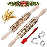 Weihnachten Präge Nudelholz, Weihnachten Geprägt Teigroller mit Muster 3D Holz Nudelhölzer mit Prägung Hirsch DIY Küchenwerkzeug Backzubehör für Hausgemachtes Backen geprägten Keksen,Fondant,Nudelteig