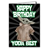 Baby Yoda The Mandalorian - 'Happy Birthday Yoda Best' - Star Wars, Yoda, tarjeta, TV, divertido, Show IN113