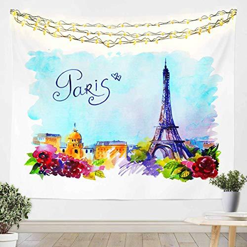 Loussiesd Tapiz de la torre Eiffel para niñas y niños Chic París París París Cityscape pared colgante decoración de la habitación manta de cama grande 128 x 189