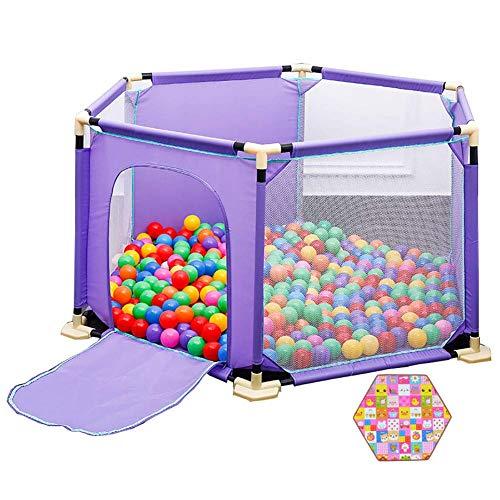 QULONG Parque Infantil Hexagonal para niños pequeños con colchón y Pelota, Seguridad anticolisión para bebés con Puerta, Divisor de habitación para niños de Color púrpura, Regalos para el día de la