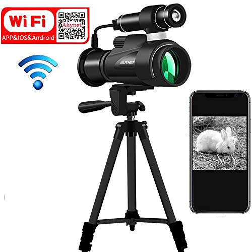 Aliynet Night Vision Monocular with WiFi Connect with iOS and Android Smartphone App,Infrared Night Vision Telescope with Big Tripod&Phone Adapter for Outdoor Trip,Camping Night Watching