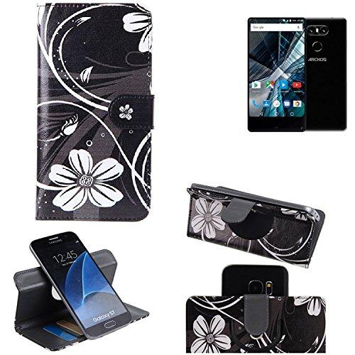K-S-Trade Schutzhülle Für Archos Sense 55 S Hülle 360° Wallet Hülle Schutz Hülle ''Flowers'' Smartphone Flip Cover Flipstyle Tasche Handyhülle Schwarz-weiß 1x